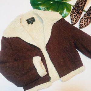 Vintage wool blend moto jacket